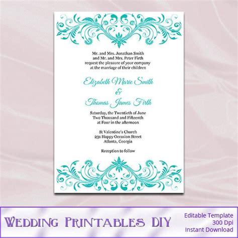 turquoise and wedding invitations turquoise wedding invitations template diy birthday bridal