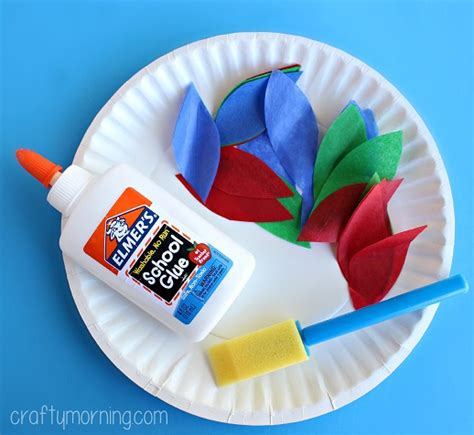 Tissue Paper Turkey Craft - paper plate turkey craft using tissue paper crafty morning