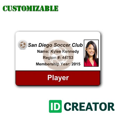 player card template id card for soccer player order in bulk from idcreator