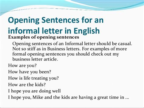 Business Letter Opening Sentence The Ultimate Informal Letter Writing Guide