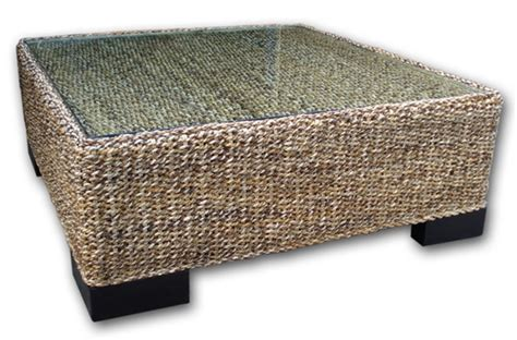 woven coffee table with glass top carved balinese