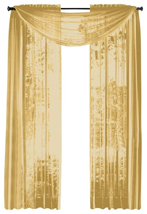 Gold Sheer Curtains Hlc Me Pair Of Sheer Panels Window Treatment Curtains Yellow Gold Traditional Curtains By