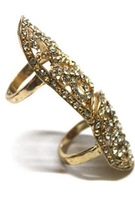 Rhinestone Knuckle Ring gold rhinestone cutout knuckle ring 012911 rings for