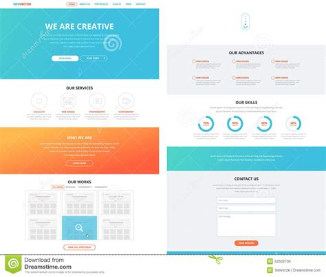 homepage design concepts one page flat website design template concept stock vector