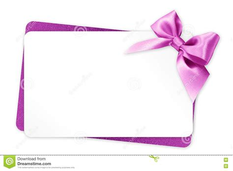 White Gift Card - gift card with pink ribbon bow isolated on white stock illustration illustration