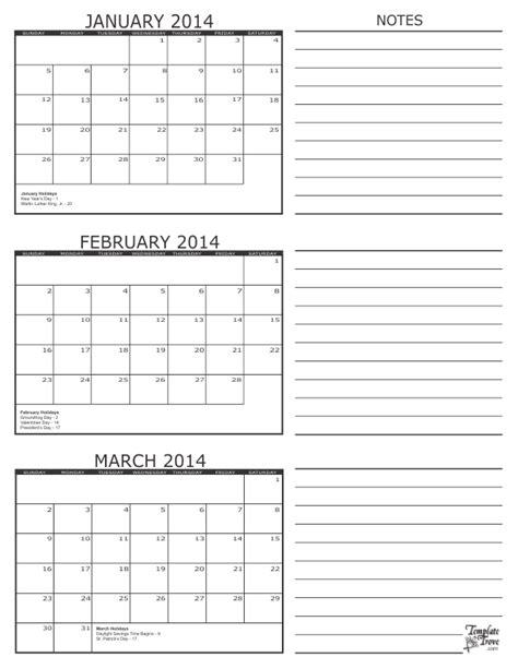 3 month calendar 2014