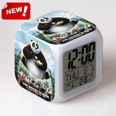 Alarm Fu kung fu panda 3 alarm clock led light 7 color change cool gadgets desk accessories desk vintage