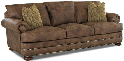 Klaussner Leather Sofas Klaussner Montezuma Casual Style Leather Sofa With Bun Johnny Janosik Sofas