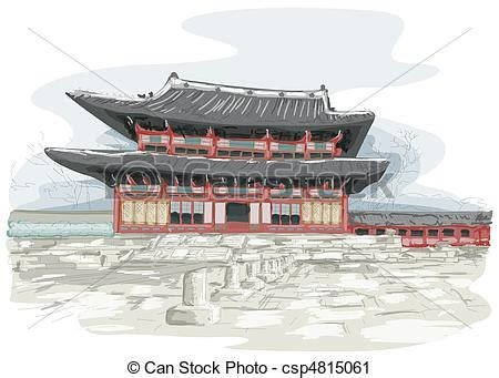 Small Traditional House Plans clipart of korean temple sketch of temple in seoul