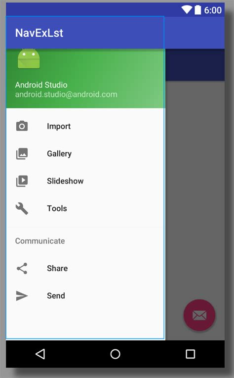drawer layout in android studio java default navigation drawer view to
