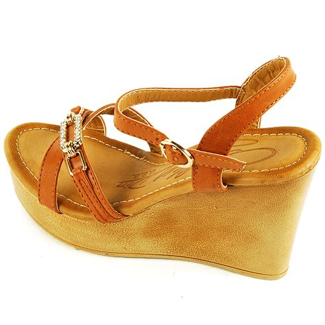 Angkle Wedges 4 womens wedge heels 4 quot platform shoe gold rhinestone open toe ankle sandals ebay
