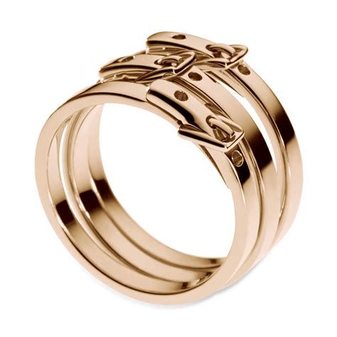 michael kors silver ion plated steel buckle rings in pink