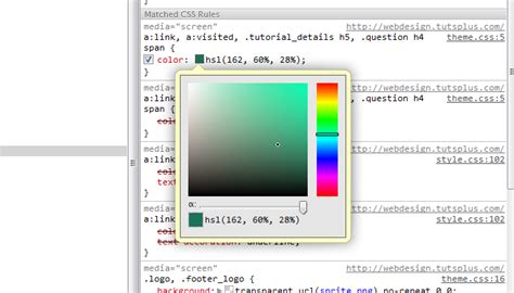 color picker chrome faster html css workflow with chrome developer tools