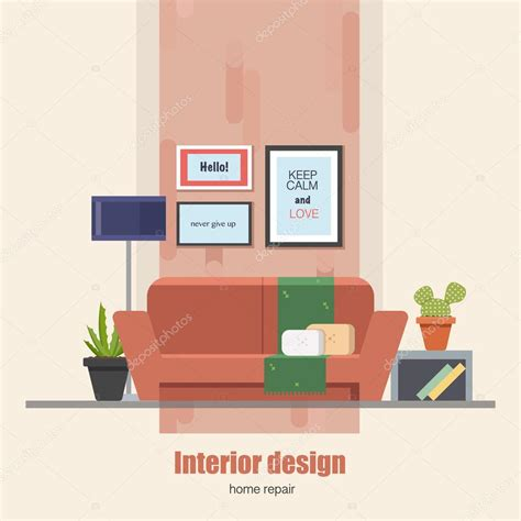 modern home design vector home interior design concept made in modern flat style living room vector illustration can be