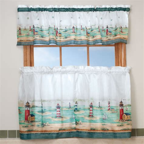 lighthouse kitchen curtain valance set walter