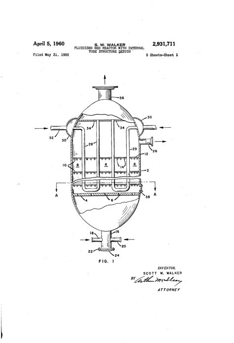 fluidized bed reactor patent us2931711 fluidized bed reactor with internal