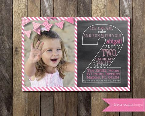 Chalkboard Second Birthday Invitation Second Birthday 2nd Birthday Chalkboard Template