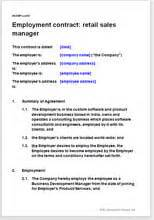 employment agreement for a retail sales manager
