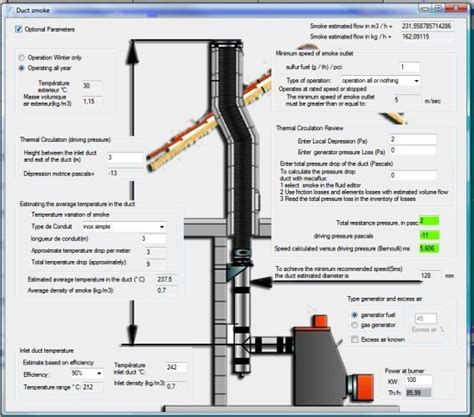 flue duct smoke chimney diameters and calculation software