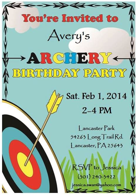 printable invitations target printable archery james s 4th birthday pinterest