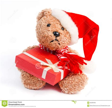 teddy bear with christmas gift stock photo image 35299446