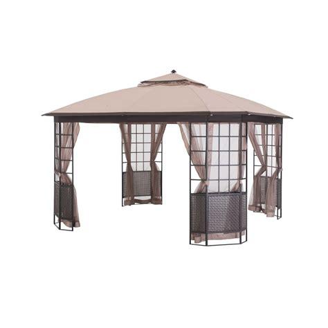 shop sunjoy beige steel square permanent gazebo exterior