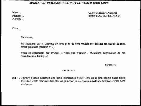 Lettre Demande De Casier Judiciaire N 3 Application Letter Sle Exemple De Lettre De Demande De Casier Judiciaire N 176 3