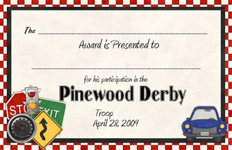 We presented every boy with an award with this certificate