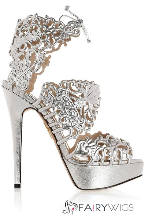 Vincci Heels Sandal Stick Diamonds silver cut out rhinestone stiletto heel sandals