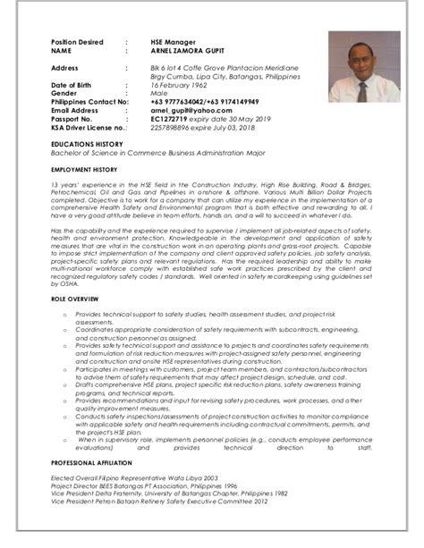 Hse Administrator Sle Resume by Arnel Z Gupit Cv Hse Manager