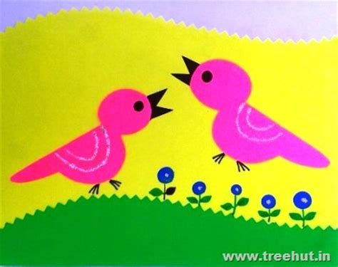 Paper Cutting Crafts - easy paper cutting birds treehut in