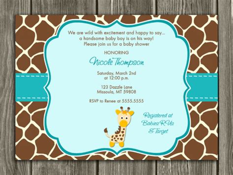 Giraffe Baby Shower Invitations by Printable Diy Baby Shower Invitations By Dazzle Expressions