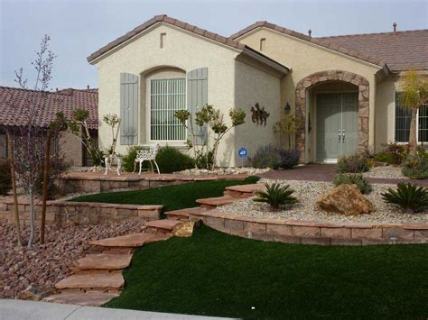 Desert Landscaping Ideas With Curb Appeal And Retain Wall