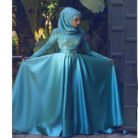 Dh 6592 Kaftan Blue islamic abaya moroccan kaftan dresses evening wear high neck appliqued beaded sleeve