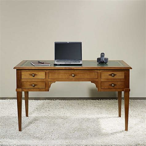 bureau de style bureau ministre 5 tiroirs en merisier massif de style
