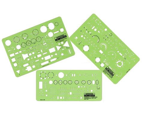 electronic templates rapidesign electrical electronic template 3 set