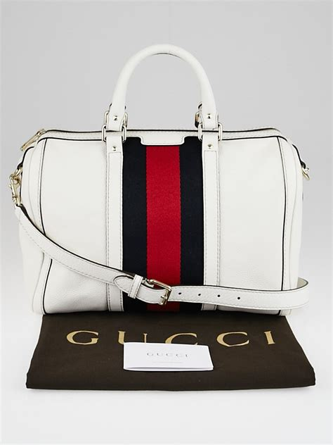 Coming New Gucci Web Leather With 2 Straps Medium gucci white leather vintage web medium boston bag w