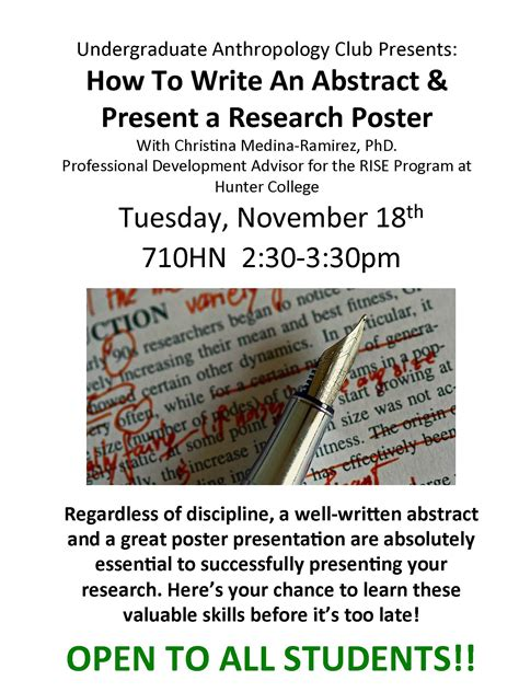 how to write a abstract for a research paper nov 18th undergraduate anthropology club presents how to