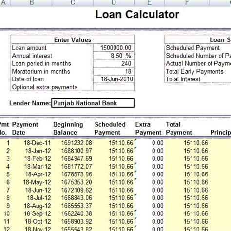 Loan Calculator Excel Sheet Loan Emi Calculator Excel Sheet