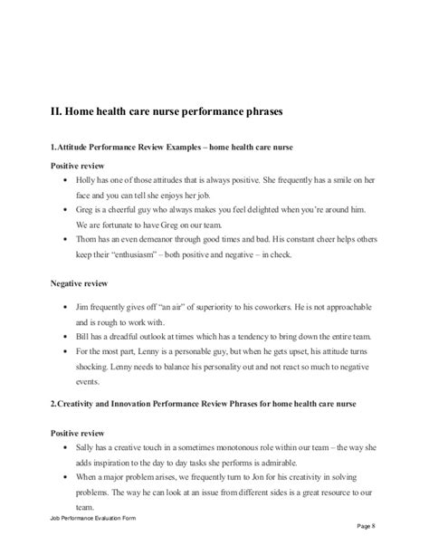 Evaluation Letter For Nurses home health care performance appraisal