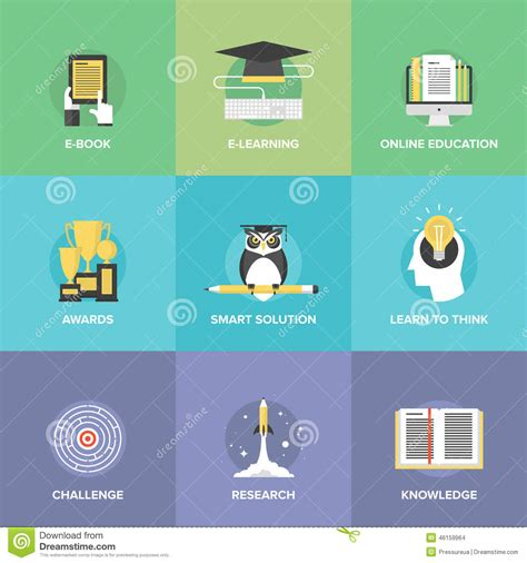 e learning flat icons set stock vector image of challenge