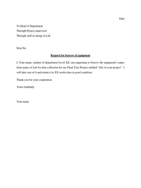 borrow money letter exle university sle permission letter to borrow equipment