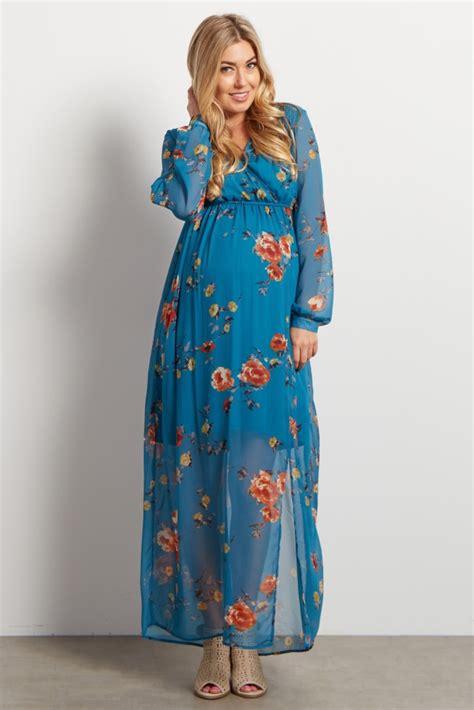 sleeve floral chiffon dress teal floral chiffon sleeve v neck maternity maxi dress