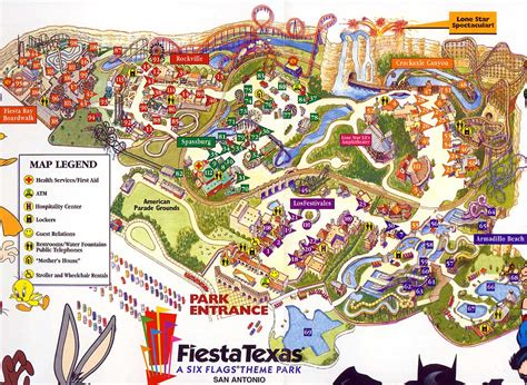 six flags texas map theme park brochures six flags fiestatexas theme park brochures