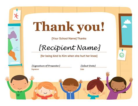 thank you card template doc thank you certificate free printable certificates