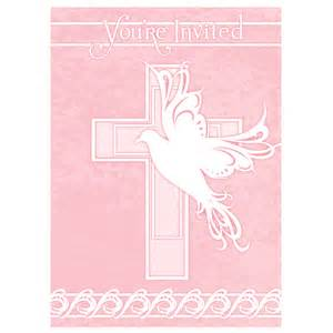 Dove cross pink baby girl christening baptism or communion invitations