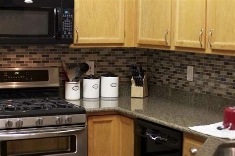 peel and stick tile backsplash oak cabinets how to work