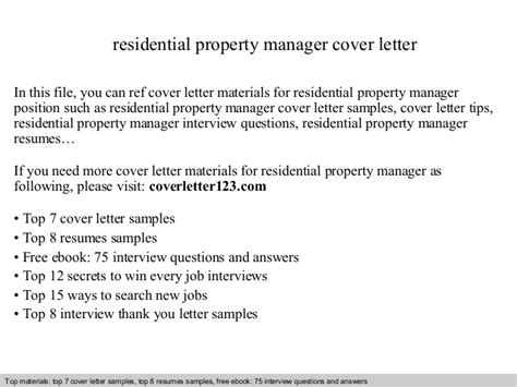 Cover Letter For Property Management Position by Residential Property Manager Cover Letter