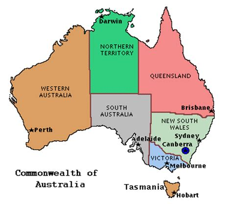 map of australia with capital cities map of australian states and capitals map
