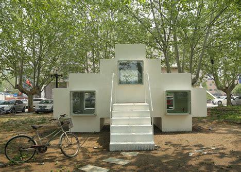 micro house by studio liu lubin installed in beijing park around world micro house in tsinghua by studio liu lubin